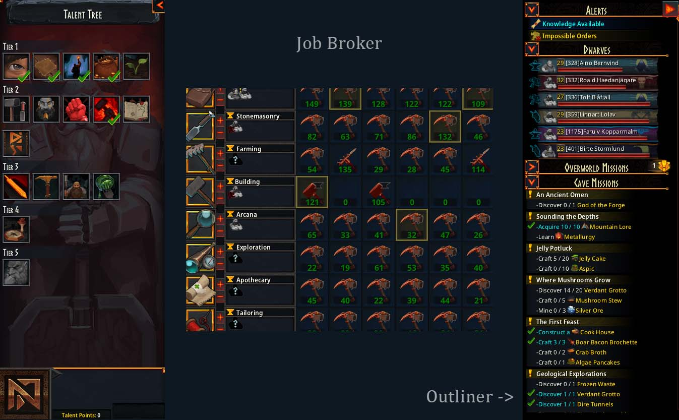 Talent Tree, Job Broker and the Outliner with Cave Missions etc